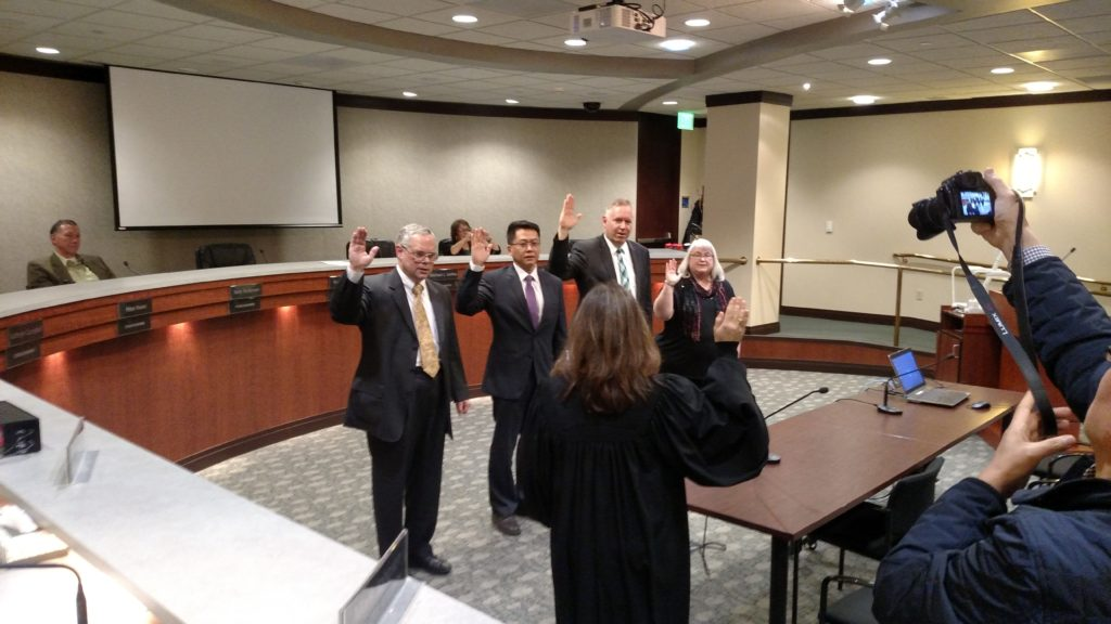 New SeaTac City Council being sworn into office January 2016