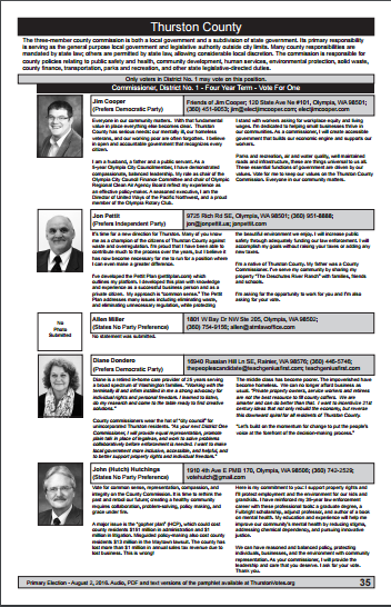 Thurston County Voters Guide - Commisioner Position 1