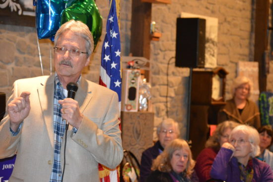 John Hutchings speaking at his campaign kick-off in Tenino earlier this year