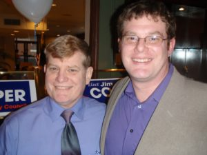 Jim Cooper grew up around politics. pictured here with his father, Mike Cooper, former City of Edmonds Mayor