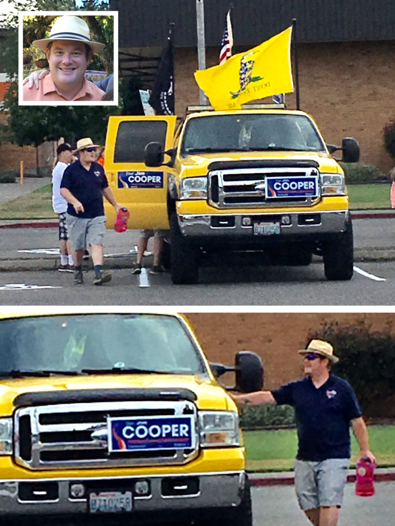 Jim Cooper at a parade in the City of Rainier showing his Tea Party credentials to the rural folk