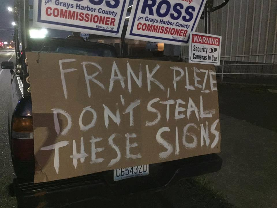 Spelling was a lower priority for this person than pleading with their county commissioner to stop stealing their political signs