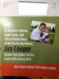 Just one of the JZ Knight funded mailers supporting Jim Cooper , part of the $105,000 JZ Knight/Ramtha campaign in Thurston County