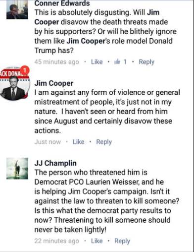 Jim Cooper made the brave decision to disavow violence in this Facebook post recently.  This is a good step in the right direction