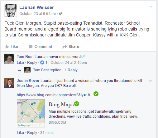 Laurien apparently has an anger problem (source Laurien Weisser Facebook page)